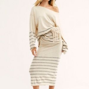 Free People Dana Point Sweater and Skirt  Set XL